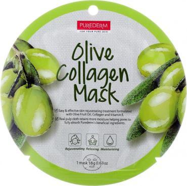 Маска для лица Purederm увлажняющая, коллагеновая, с экстрактом плодов Оливы