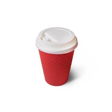 Бумажный стакан с конгревом, 360 мл (макс. 430 мл), двухсл., красный