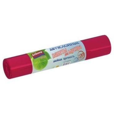 Пакеты для мусора 2-слойные 220 л., красный 5 шт., Avikomp, бумажная упаковка