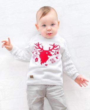 Джемпер для мальчика, 28-98-104, белый, красный, Golden Kids, Виксен, Россия, пластиковый пакет