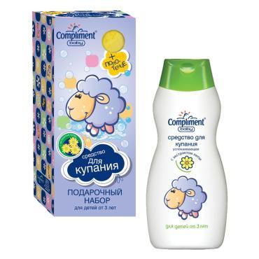 Набор Compliment Baby №145 Овечка-средство для купания + полотенце, 300 мл., картонная коробка