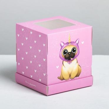 Коробка под капкейк Дарите Счастье Сладкий щенок, 9 × 10 × 9 см.