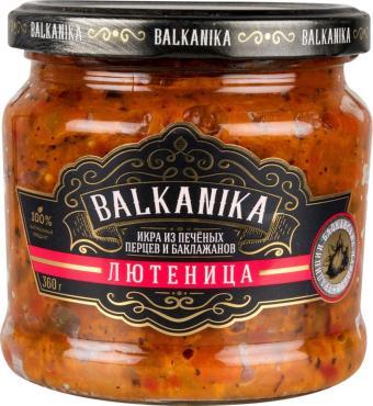 Икра овощная Лютеница из печеных перцев и баклажанов, Balkanika, 360 гр., стекло
