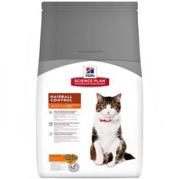 Сухой корм с курицей, вывод шерсти из желудка для кошек, Hill's Science Plan Hairball Control Adult with Chicken, 1,5 кг., Дой-пак