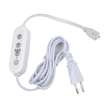 Таймер с вилкой и разъемом L,N,G для фито светильника, 220В, 1500Вт провод 2 м., Uniel UST-E33 White 2M, 110 гр.