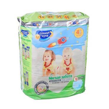 Подгузники для детей Солнце и Луна Мягкая Забота L 7-14 кг. 14 шт.