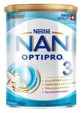 Молочко детское 3 Оптипро, NAN, 400 гр., ж/б