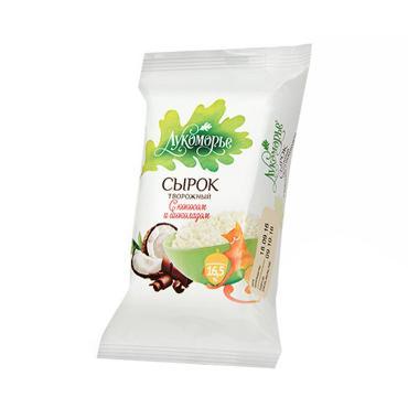 Сырок творожный Лукоморье кокос с шоколадом 16,5%