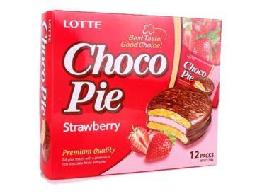 Пирожное Choco Pie Lotte Клубника в шоколадной глазури
