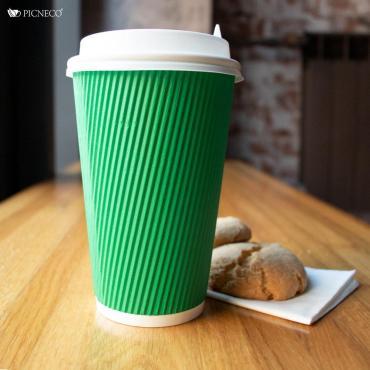 Бумажный стакан, 400 мл (макс. 450 мл), двухсл., гофр. вертикаль, зеленый