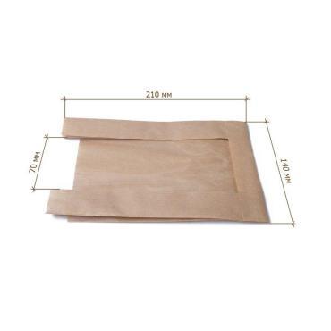 Крафт пакет с пл. дн. и окном, 140(окно-70)*210 мм