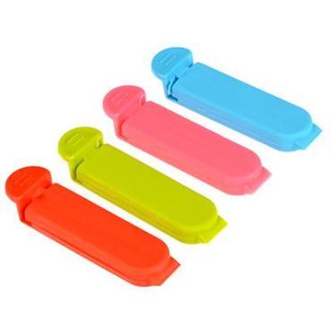 Набор зажимов для пакетов 4 шт., пластик, 6 см., 4 цвета, Асторг