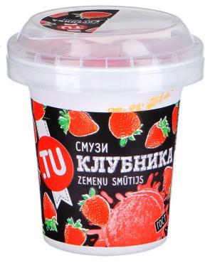 Мороженое Смузи клубничный стакан с ложкой в крышке, Tu food, 100 гр.
