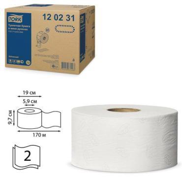 Бумага туалетная, двухслойная, 12 мини-рулонов, Tork