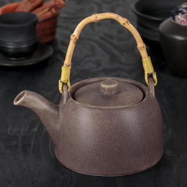 Чайник заварочный Доляна Шифу 500 мл. с металлическим ситом коричневый