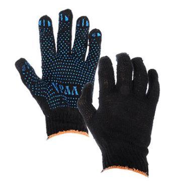 Перчатки вязаные Асторг эконом х/б с пвх напылением точка черные 5 пар