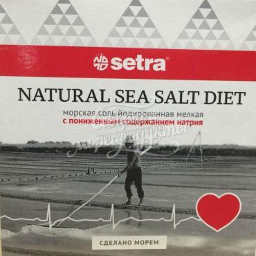 Соль морская мелкая йодированная с пониженным содержанием натрия, Setra, 500 гр., картонная коробка