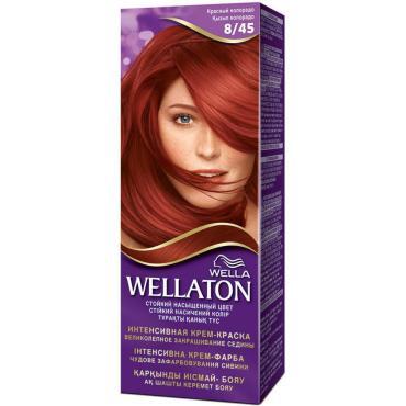 Крем-краска для волос стойкая 8/45 Красный Колорадо, Wella Wellaton, 50 мл., картонная коробка