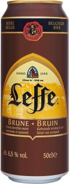 Пиво Leffe Brune темное пастеризованное фильтрованное ж/б 6,3%, 500мл
