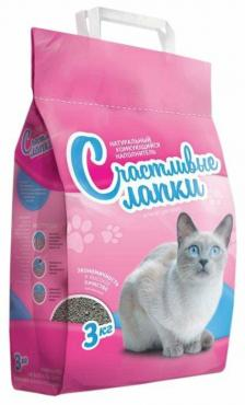 Наполнитель для кошачьего туалета комкующийся, Счастливые Лапки, 3 кг., пластиковый пакет