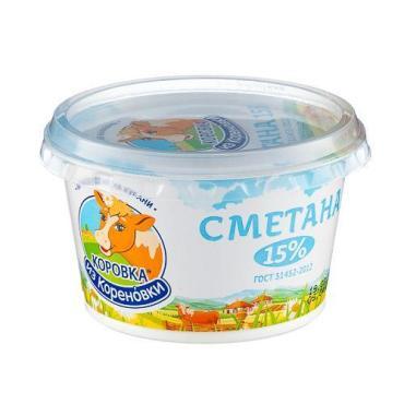 Сметана 15%, Коровка из Кореновки, 180 гр., стакан
