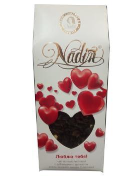 Чай листовой черный с ароматом ликера Nadin Люблю тебя, 50 гр., картонная коробка