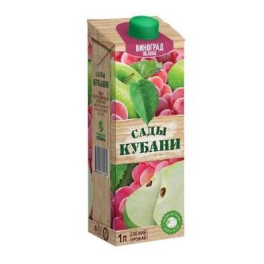 Сок яблоко-виноград Сады Кубани, 1л., тетра-пак