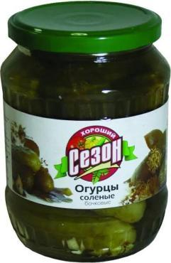 Огурцы соленые бочковые Хороший Сезон, 680 гр., стекло