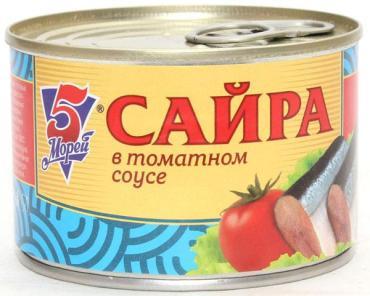 Рыбные консервы 5 Морей Сайра в томатном соусе