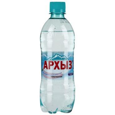 Вода минеральная Архыз газированная, Пластиковая бутылка 0,5 л, (12 шт. в упаковке)