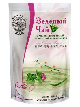 Чай Черный Дракон зеленый с лимонником, мятой, календулой незабудкой 100 гр