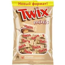 Батончик Twix Minis шоколадный, Флоу-пак 184 г, (9 шт. в упаковке)