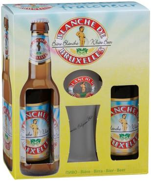 Набор Пиво Blanche de Bruxelles нефильтрованное светлое 4,5% 2шт. + бокал
