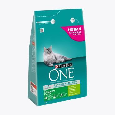 Корм сухой для домашних кошек, с индейкой и цельными злаками Purina One 3 кг. Дой-пак