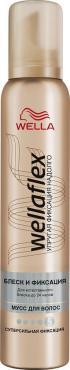 Мусс Wella Wellaflex Блеск и фиксация для укладки волос супер-сильная фиксация