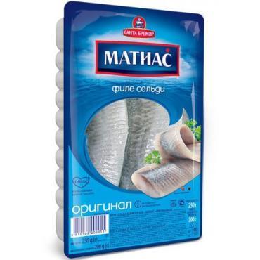 Сельдь филе деликатесное оригинальное Санта Бремор Матиас, 250 гр., вакуумная упаковка