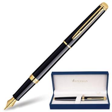 Ручка подарочная перьевая Waterman Hemisphere Mars Black GT черный лак позолоченные детали синяя
