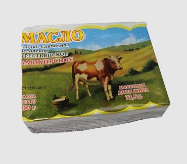 Масло сливочное крестьянское 72,5 %, Белая ферма, 200 гр., Обертка фольга/бумага