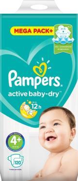 Подгузники Pampers Active Baby Dry 10-15 кг р.4+ 120 шт.