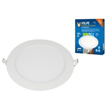 Светильник светодиодный встраиваемый, дневной свет (6500К), корпус белый, ULM-Q236 22W/6500K WHITE, Volpe, 38 гр.