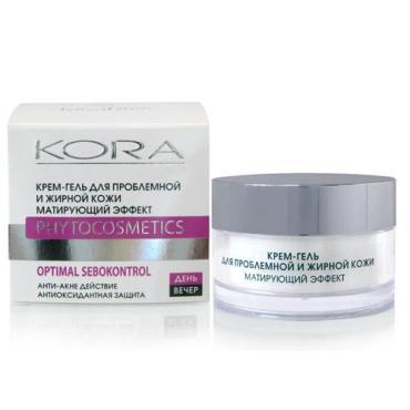 Крем-гель Kora для проблемной и жирной кожи, матирующий эффект