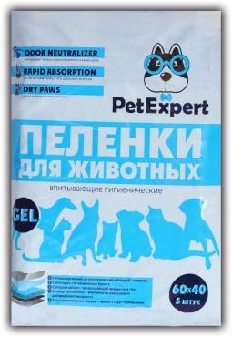 Пеленки для животных гелевые, 60х40 см., 5 шт., PetExpert, пластиковый пакет
