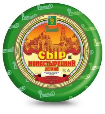 Сыр монастырецкий легкий 35%, Ровеньки, 1 кг., полиэтиленовая пленка