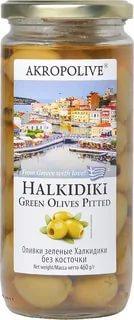 Оливки зеленые Халкидики с косточкой Akropolive, 460 гр., стекло