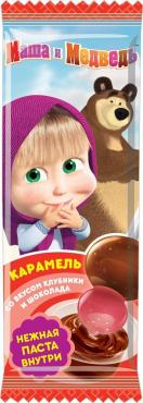 Карамель Конфитрейд Маша и Медведь на палочке с двойным вкусом с шоколадной пастой