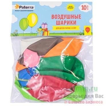 Воздушные шарики Paterra разноцветные 30 см .без рисунка 10 шт.