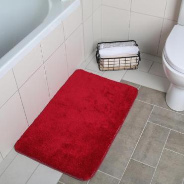 Коврик для ванны Доляна Нина 50х80 см. ворск короткий бордовый