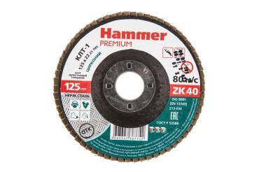 Круг лепестковый торцевой 125х22 Р 40 тип 1 КЛТ цирконий Hammer Premium 213-034, 30 гр., картонная коробка