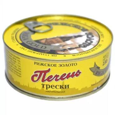 Печень трески Рижское золото натуральная из охлаждённого сырья, 230 гр., ж/б