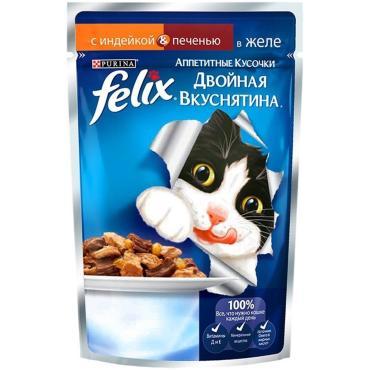 Корм консервы для кошек с индейкой и печенью Felix аппетитные кусочки в желе 24 шт., 85 гр., дой-пак